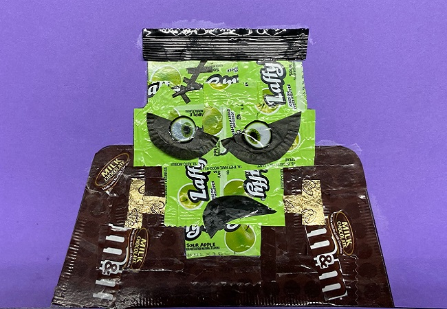 Frankenstein with Laffy Taffy and M&M's